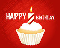 Birthday cupcake Greeting card. With candle Royalty Free Stock Photo