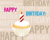 Birthday cupcake Greeting card. With candle Stock Photography