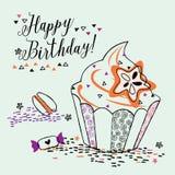 Birthday cupcake illustration Stock Photography