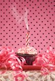 Birthday Cupcake with One Smoking Candle Stock Image