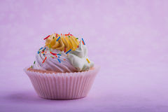 Birthday cupcake, on the pink Stock Photography