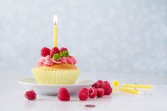 Birthday cupcake with raspberry and candy Royalty Free Stock Photo