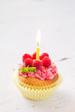 Birthday cupcake with raspberry and candy Royalty Free Stock Photography