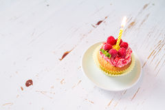 Birthday cupcake with raspberry and candy Stock Photography