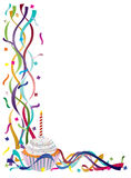 Birthday Cupcake with Ribbons and Confetti Royalty Free Stock Images