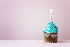 Birthday cupcake. With a single candle Royalty Free Stock Photography