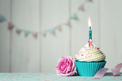 Birthday cupcake. Cupcake with single candle and pink rose stock photos