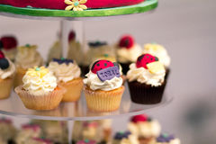 Birthday cupcake stand Stock Photo