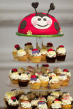 Birthday cupcake stand Stock Images