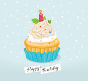 Birthday cupcake with star and candle pink Royalty Free Stock Photography