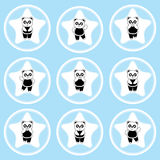 Birthday cupcake topper with cute panda on star frames Stock Images