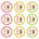 Birthday cupcake topper set with cute girls on colorful circle  cartoon. For kid cupcake topper and sticker set Stock Photography