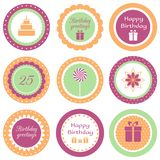 Birthday cupcake toppers. Set of circle labels for birthday party vector illustration