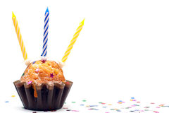 Birthday Cupcake With Three Candles Stock Photo