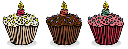 Birthday Cupcakes. Vanilla, Chocolate and Strawberry birthday cupcakes. Outline and color on separate layers. Global colors for easy edit. Vector art in Royalty Free Stock Image