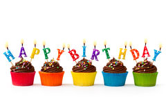 Birthday cupcakes. Chocolate cupcakes with a birthday greeting Stock Images