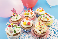Birthday Cupcakes with Balloons Stock Photos