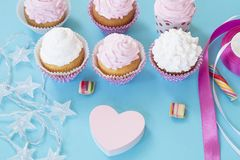 Birthday cupcakes royalty free stock images