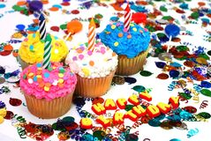 Birthday Cupcakes with Candles Royalty Free Stock Images