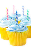 Birthday cupcakes with candles Stock Image