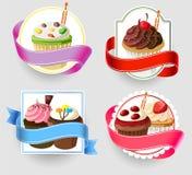 Birthday cupcakes emblem set. Template of birthday cupcakes emblem set Stock Photography
