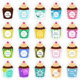 Birthday cupcakes icons Royalty Free Stock Photography