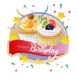 Birthday cupcakes label. Template of birthday cupcakes label Royalty Free Stock Photo