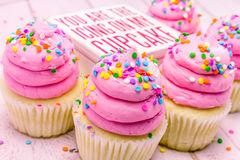 Birthday Cupcakes with Pink Frosting Royalty Free Stock Photo