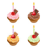 Birthday cupcakes. Set of four illustrations. Set of four birthday colorful cupcakes with cream, berries, chocolate, candles and sprinkles Stock Image