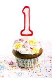 Birthday cupcakes on white background Royalty Free Stock Photos