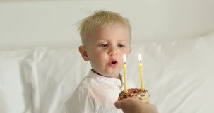 Birthday of a cute baby. The little blond boy blows out the candles on the cake. Two years stock video