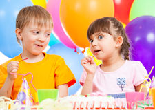 Birthday of cute kids twins Royalty Free Stock Photos