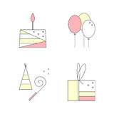 Birthday cute linear icons set. Cake, gift box, air balloons, birthday cap. Vector flat illustration on white background Stock Photography