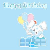 Birthday day illustration with cute blue bunny with balloons and gifts on blue background Royalty Free Stock Photography