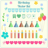 Birthday decoration, banner, candle, balloon, hat vector set. Cartoon party illustration Stock Image