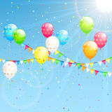 Birthday decoration on sky background. Birthday decoration with colorful  balloons, confetti and pennants on sky background, illustration Royalty Free Stock Photo