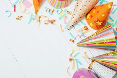 Birthday decoration on white background Royalty Free Stock Images