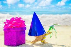 Birthday decorations on the beach Stock Photos