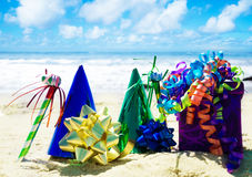 Birthday decorations on the beach Royalty Free Stock Image