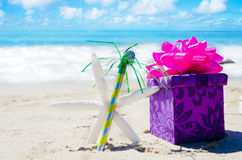 Birthday decorations on the beach Stock Photography