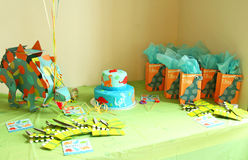 Birthday decorations with dinosaurs Royalty Free Stock Image