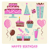 Birthday design elements Royalty Free Stock Photography