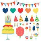 Birthday design elements collection. Collection of hand drawn birthday party design elements with cake, balloons, hats, bunting, ice cream, typography. Isolated Stock Photo