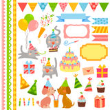 Birthday design elements. Collection of birthday icons and design elements Royalty Free Stock Photos