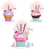 Birthday Dessert with candles. Vector illustration of Birthday muffins with candles Royalty Free Stock Photography