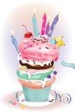 Birthday Dessert with candles Stock Photo