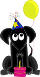 Birthday Dog. Comical dog wearing party hat sits with balloon tied to his tail and cake in front of him royalty free illustration