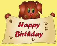 Birthday dog. Design for a birthday card with a cute brown dog Stock Images