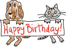Birthday Dog Cat Stock Image
