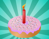 Birthday donut with candle Royalty Free Stock Images